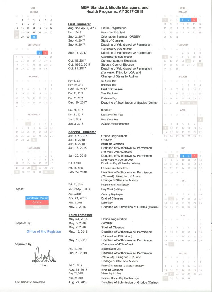 Academic Calendar Sy 2017-2018 MM, STD,Health