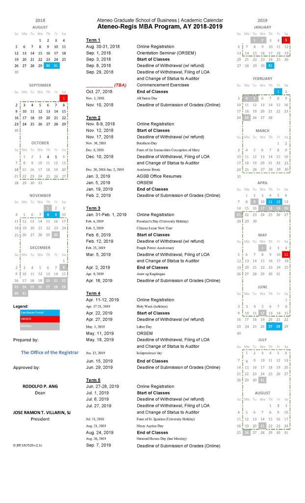 Academic Calendar 2018-2019 Regis